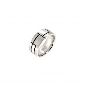 """""""Graphic"""" white gold ring"""