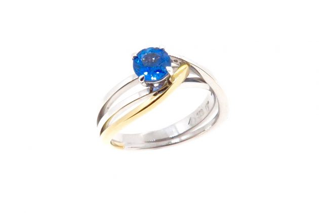 18ct white and yellow gold Sapphire engagement ring 1