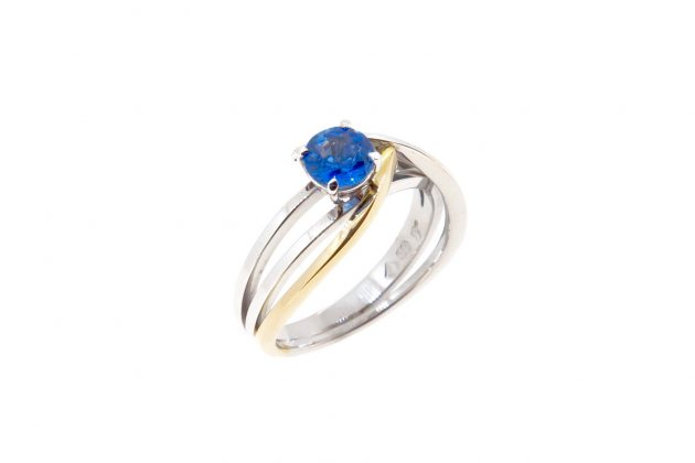 18ct white and yellow gold Sapphire engagement ring 2