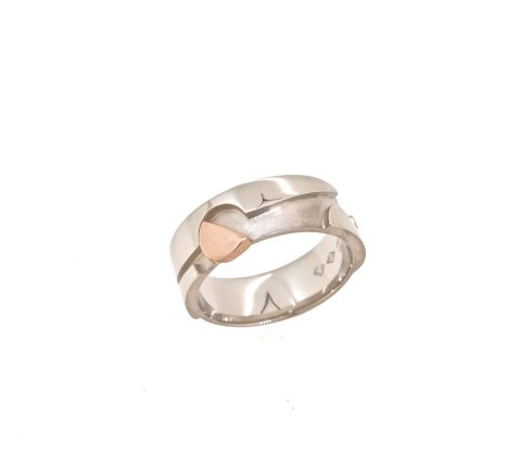'Platinum and rose gold Mens wedding ring