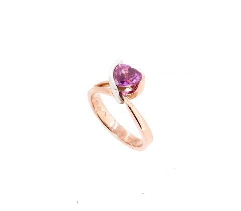 'Heart shaped pink sapphire ring