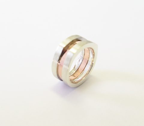 'Sterling Silver and Rose Gold wedding ring