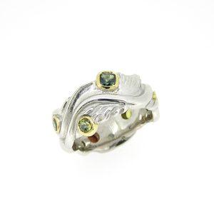 White Gold sapphire wedding men's ring