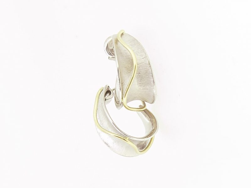 White gold Concave Hoop Earrings