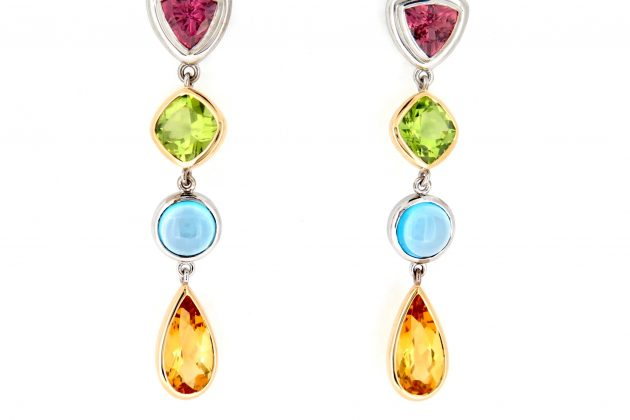 Multicoloured 18ct Yellow and White Gold Drop Earrings