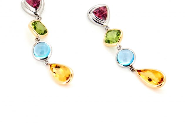 Tourmaline peridot topaz and yellow beryl earrins 2
