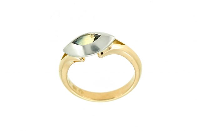 18ct Yellow Gold, Platinum and Marquise Parti Sapphire Ring