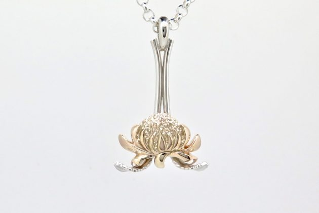 9ct Yellow Gold and Silver Waratah Pendant