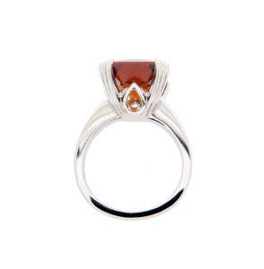 Platinum Ring with Orange Hessonite Garnet