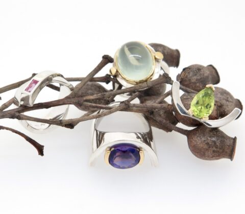 'Coloured Silver and Gold rings